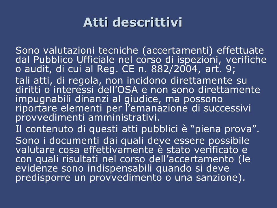 Atti descrittivi Sono valutazioni tecniche (accertamenti) effettuate dal Pubblico Ufficiale nel corso di ispezioni, verifiche o audit, di cui al Reg.