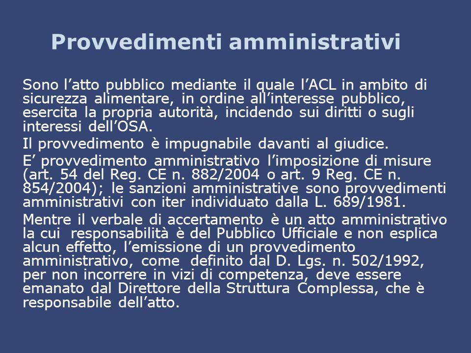 Provvedimenti amministrativi Sono l'atto pubblico mediante il quale l'ACL in ambito di sicurezza alimentare, in ordine all'interesse pubblico, esercit