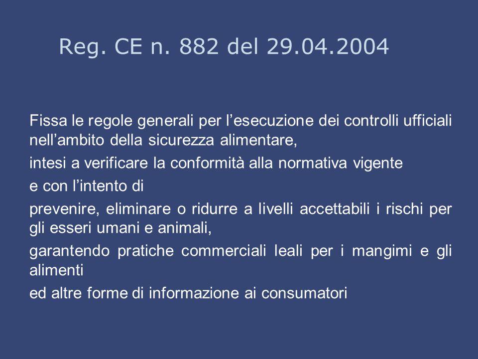 Reg. CE n. 882 del 29.04.2004 Fissa le regole generali per l'esecuzione dei controlli ufficiali nell'ambito della sicurezza alimentare, intesi a verif