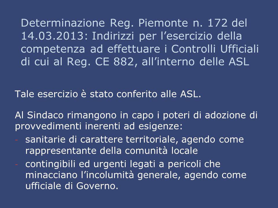 Determinazione Reg. Piemonte n. 172 del 14.03.2013: Indirizzi per l'esercizio della competenza ad effettuare i Controlli Ufficiali di cui al Reg. CE 8