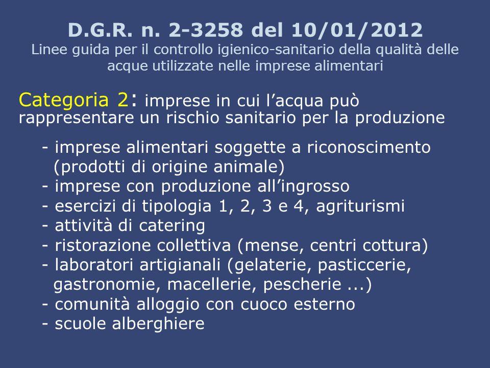 D.G.R. n. 2-3258 del 10/01/2012 Linee guida per il controllo igienico-sanitario della qualità delle acque utilizzate nelle imprese alimentari Categori