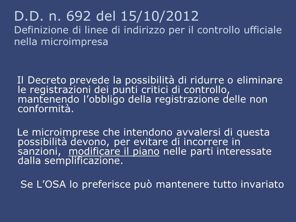 D.D. n. 692 del 15/10/2012 Definizione di linee di indirizzo per il controllo ufficiale nella microimpresa Il Decreto prevede la possibilità di ridurr
