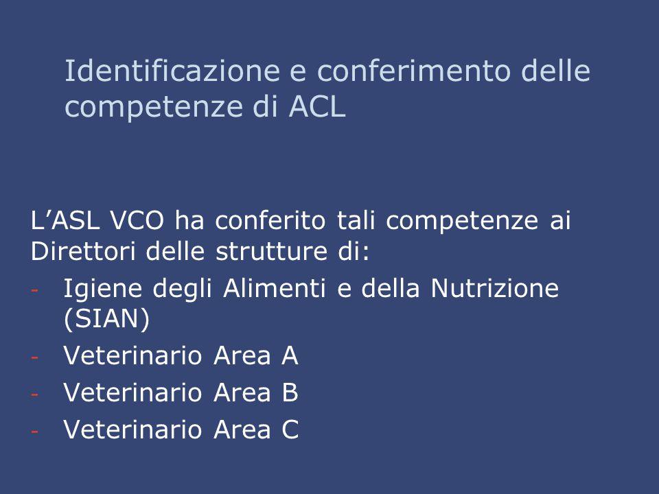 Identificazione e conferimento delle competenze di ACL L'ASL VCO ha conferito tali competenze ai Direttori delle strutture di: - - Igiene degli Alimen
