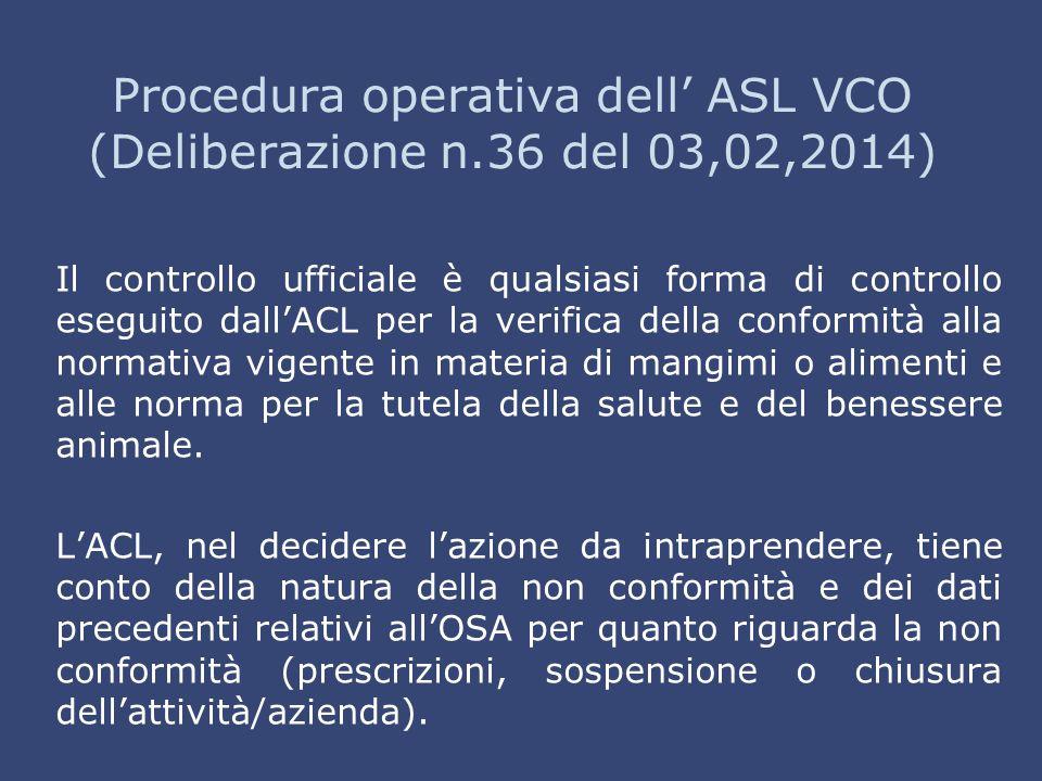 Procedura operativa dell' ASL VCO (Deliberazione n.36 del 03,02,2014) Il controllo ufficiale è qualsiasi forma di controllo eseguito dall'ACL per la v