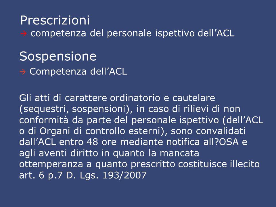 Prescrizioni  competenza del personale ispettivo dell'ACL Sospensione   Competenza dell'ACL Gli atti di carattere ordinatorio e cautelare (sequestr