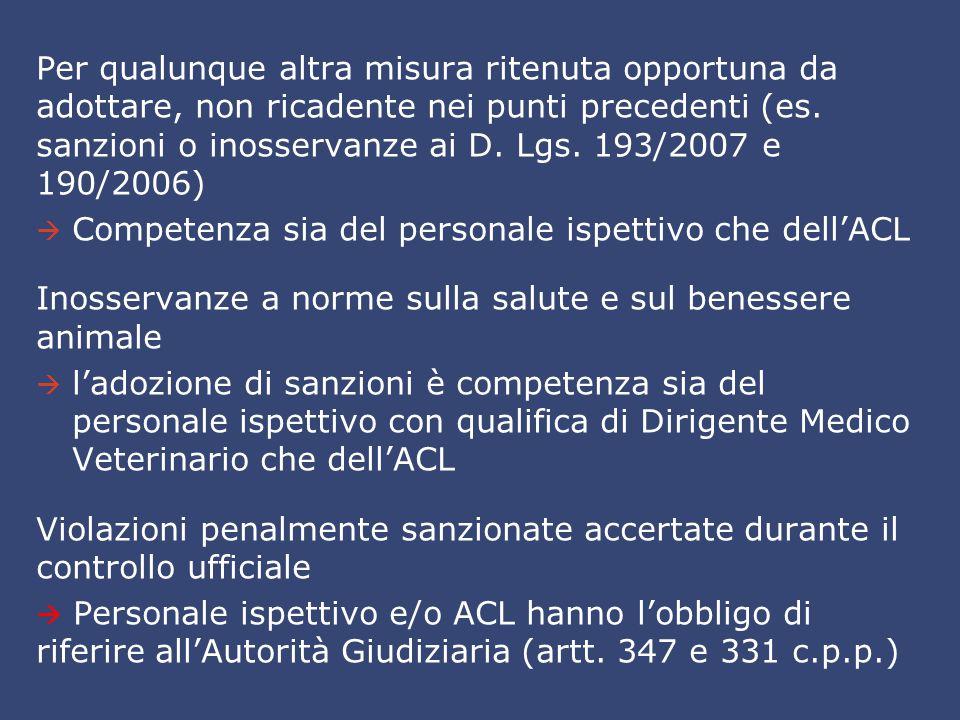 Per qualunque altra misura ritenuta opportuna da adottare, non ricadente nei punti precedenti (es. sanzioni o inosservanze ai D. Lgs. 193/2007 e 190/2