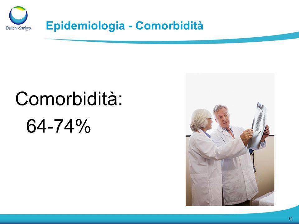 12 Epidemiologia - Comorbidità Comorbidità: 64-74%
