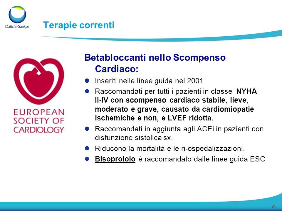 24 Terapie correnti Betabloccanti nello Scompenso Cardiaco: Inseriti nelle linee guida nel 2001 Raccomandati per tutti i pazienti in classe NYHA II-IV