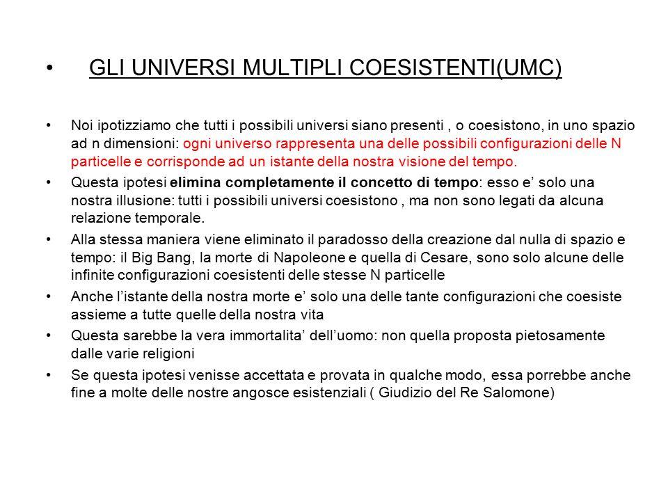 GLI UNIVERSI MULTIPLI COESISTENTI(UMC) Noi ipotizziamo che tutti i possibili universi siano presenti, o coesistono, in uno spazio ad n dimensioni: ogn