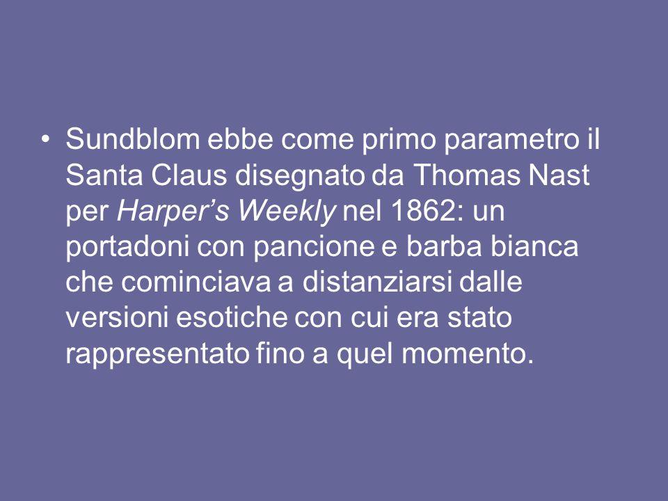Sundblom ebbe come primo parametro il Santa Claus disegnato da Thomas Nast per Harper's Weekly nel 1862: un portadoni con pancione e barba bianca che