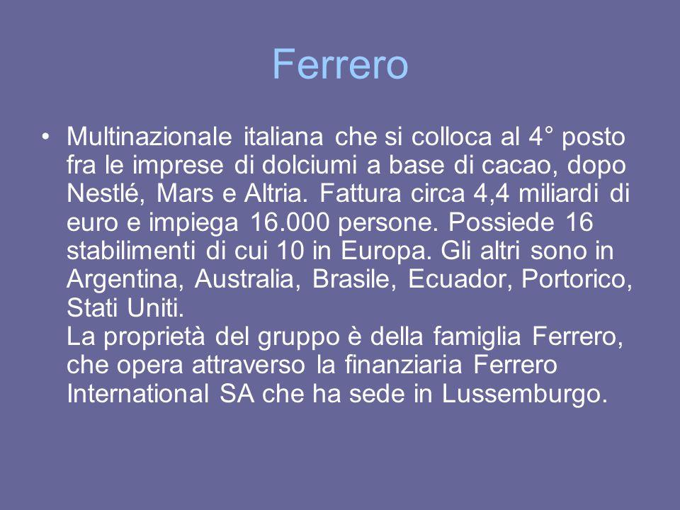 Ferrero Multinazionale italiana che si colloca al 4° posto fra le imprese di dolciumi a base di cacao, dopo Nestlé, Mars e Altria. Fattura circa 4,4 m