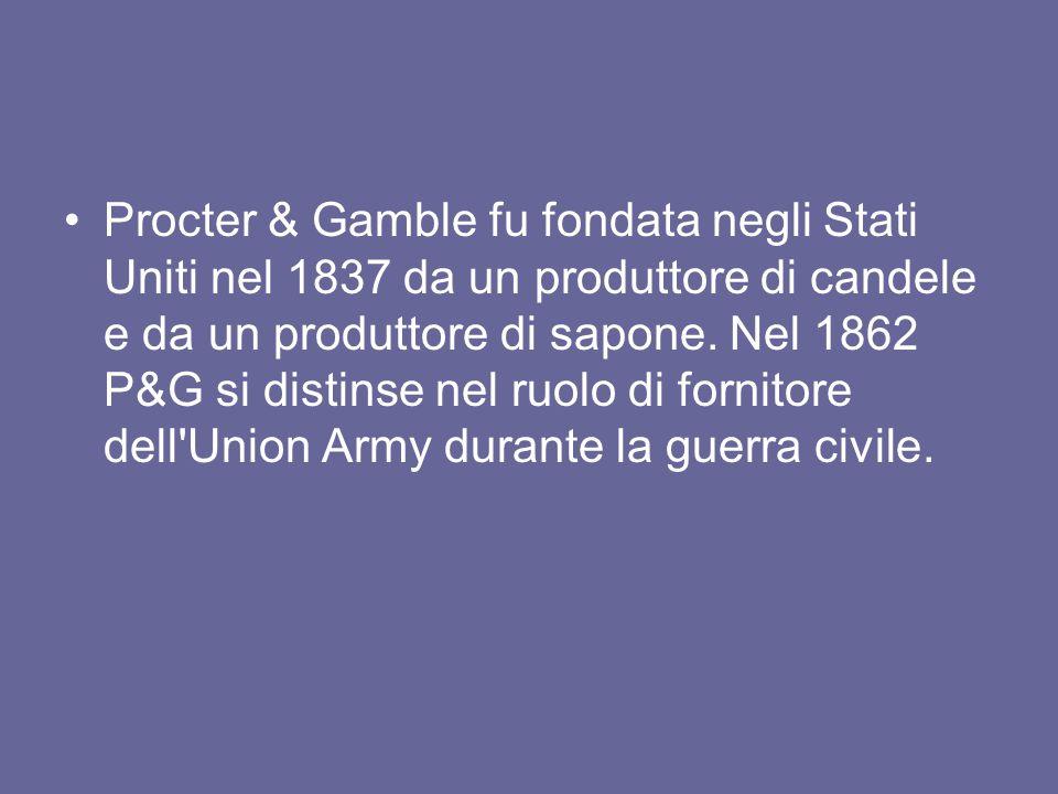 Procter & Gamble fu fondata negli Stati Uniti nel 1837 da un produttore di candele e da un produttore di sapone. Nel 1862 P&G si distinse nel ruolo di