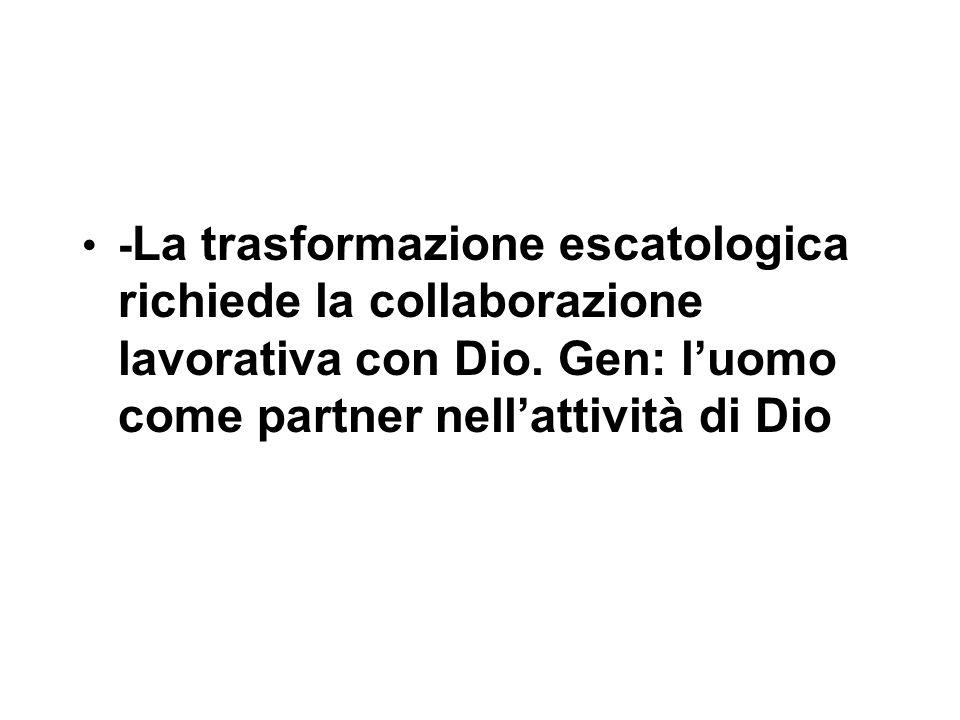 - La trasformazione escatologica richiede la collaborazione lavorativa con Dio.