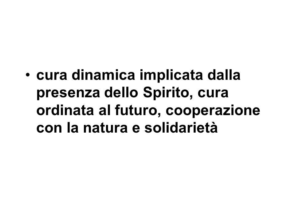 cura dinamica implicata dalla presenza dello Spirito, cura ordinata al futuro, cooperazione con la natura e solidarietà