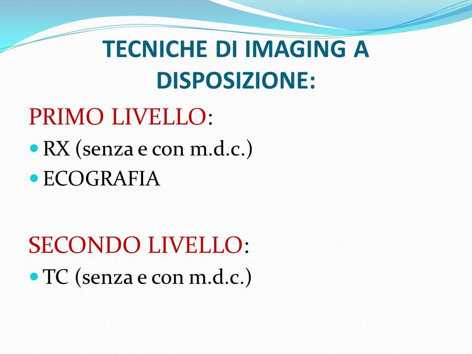 TECNICHE DI IMAGING A DISPOSIZIONE: PRIMO LIVELLO: RX (senza e con m.d.c.) ECOGRAFIA SECONDO LIVELLO: TC (senza e con m.d.c.)
