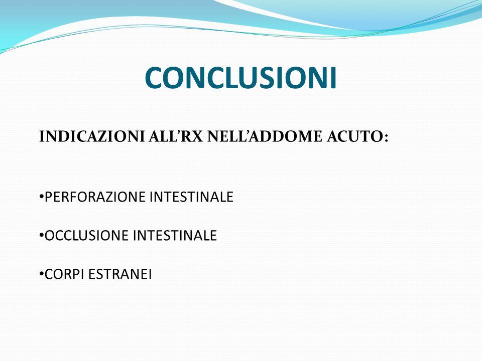 CONCLUSIONI INDICAZIONI ALL'RX NELL'ADDOME ACUTO: PERFORAZIONE INTESTINALE OCCLUSIONE INTESTINALE CORPI ESTRANEI