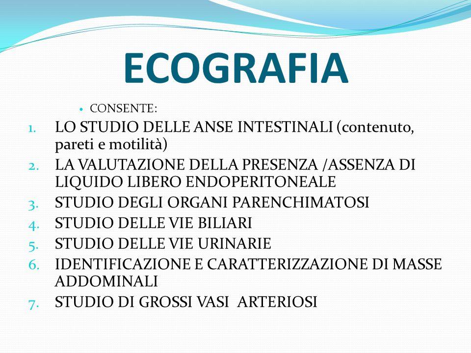 ECOGRAFIA CONSENTE: 1. LO STUDIO DELLE ANSE INTESTINALI (contenuto, pareti e motilità) 2. LA VALUTAZIONE DELLA PRESENZA /ASSENZA DI LIQUIDO LIBERO END