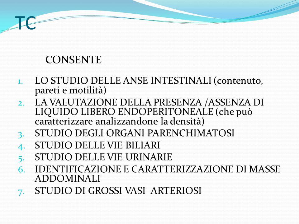 1. LO STUDIO DELLE ANSE INTESTINALI (contenuto, pareti e motilità) 2. LA VALUTAZIONE DELLA PRESENZA /ASSENZA DI LIQUIDO LIBERO ENDOPERITONEALE (che pu