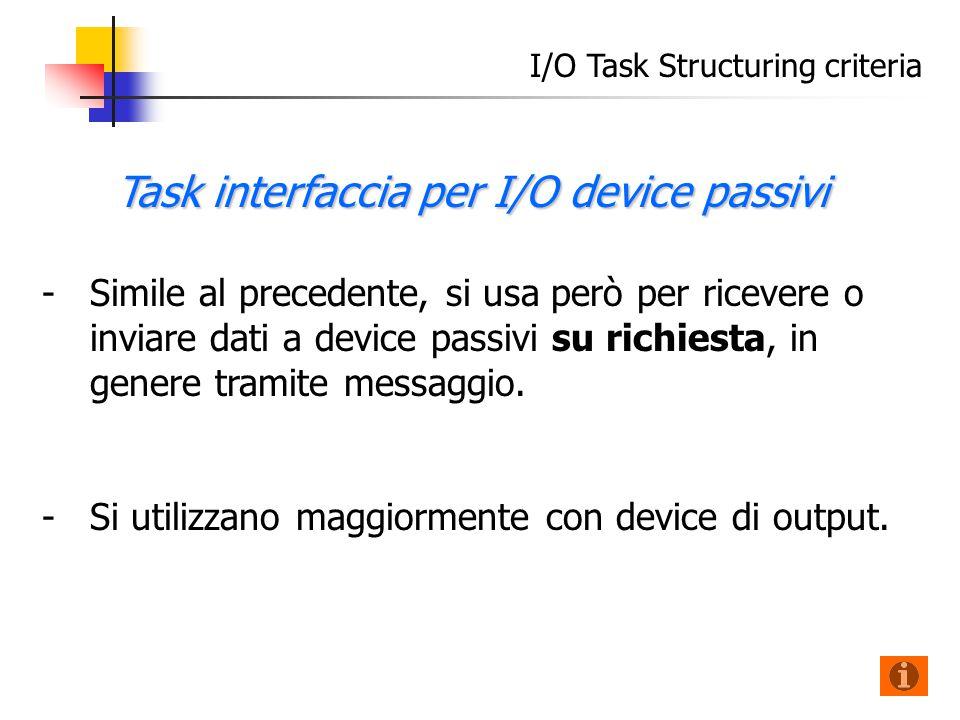 I/O Task Structuring criteria - -Simile al precedente, si usa però per ricevere o inviare dati a device passivi su richiesta, in genere tramite messaggio.