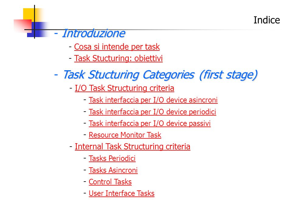 Indice Introduzione - Introduzione - Cosa si intende per taskCosa si intende per task - Task Stucturing: obiettiviTask Stucturing: obiettivi Task Stucturing Categories (first stage) - Task Stucturing Categories (first stage) - I/O Task Structuring criteriaI/O Task Structuring criteria - Task interfaccia per I/O device asincroni Task interfaccia per I/O device asincroni - Task interfaccia per I/O device periodici Task interfaccia per I/O device periodici - Task interfaccia per I/O device passivi Task interfaccia per I/O device passivi - Resource Monitor Task Resource Monitor Task - Internal Task Structuring criteriaInternal Task Structuring criteria - Tasks Periodici Tasks Periodici - Tasks Asincroni Tasks Asincroni - Control Tasks Control Tasks - User Interface Tasks User Interface Tasks