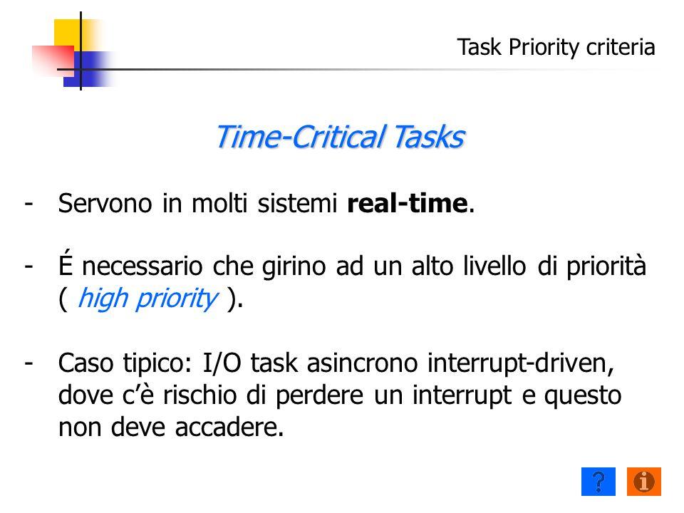 Task Priority criteria - -Servono in molti sistemi real-time.