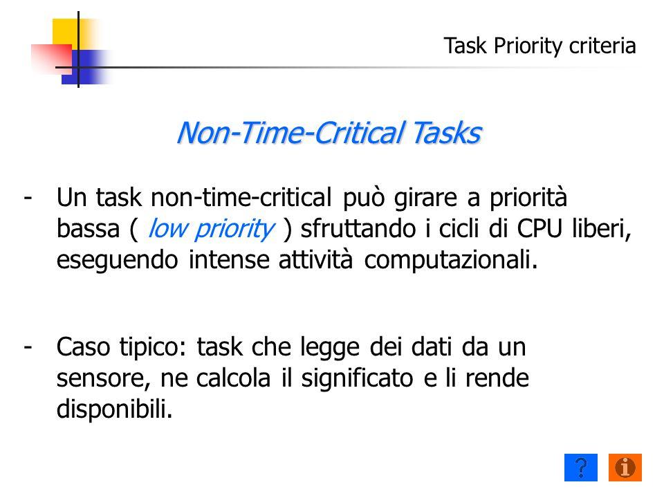 Task Priority criteria - -Un task non-time-critical può girare a priorità bassa ( low priority ) sfruttando i cicli di CPU liberi, eseguendo intense attività computazionali.