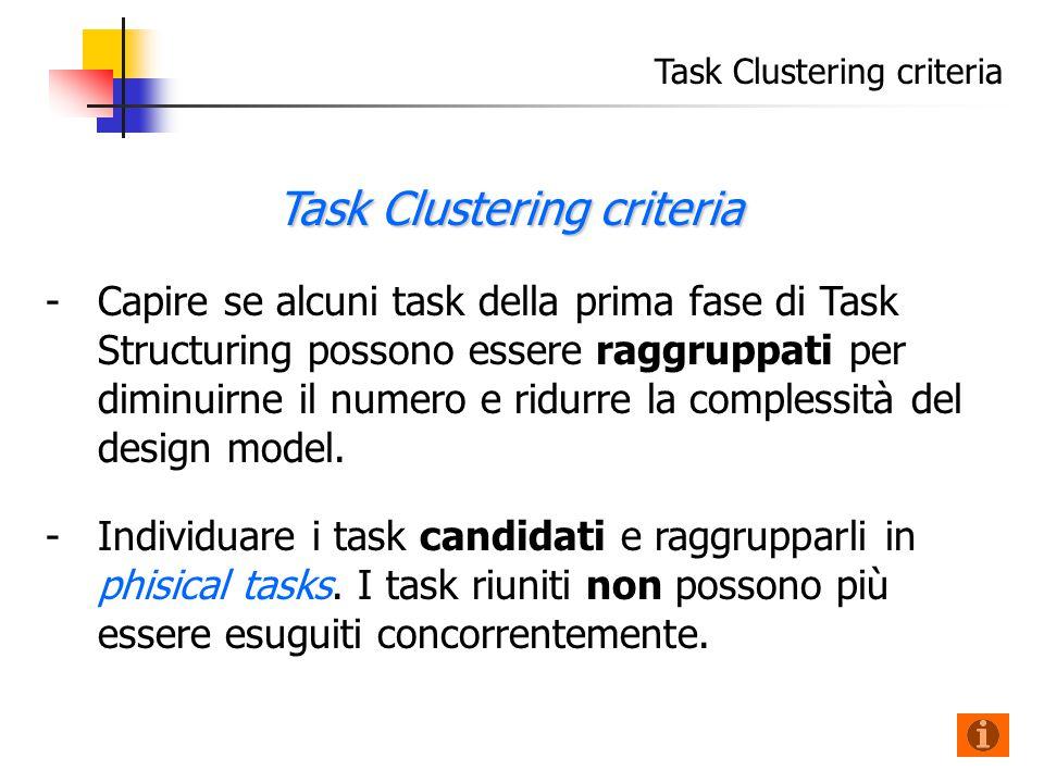 Task Clustering criteria - -Capire se alcuni task della prima fase di Task Structuring possono essere raggruppati per diminuirne il numero e ridurre la complessità del design model.