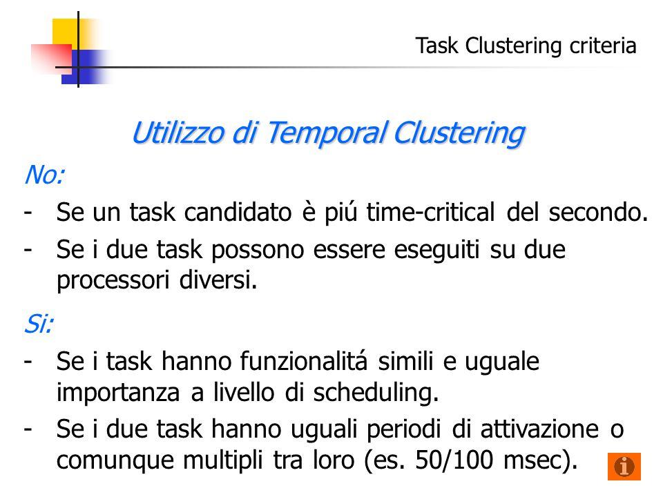 Task Clustering criteria No: - -Se un task candidato è piú time-critical del secondo.