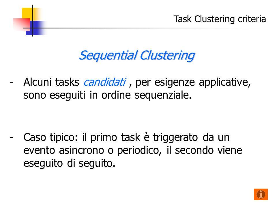Task Clustering criteria - -Alcuni tasks candidati, per esigenze applicative, sono eseguiti in ordine sequenziale.