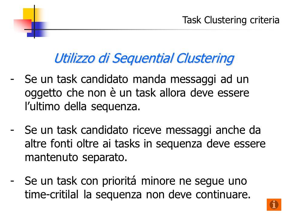 Task Clustering criteria - -Se un task candidato manda messaggi ad un oggetto che non è un task allora deve essere l'ultimo della sequenza.