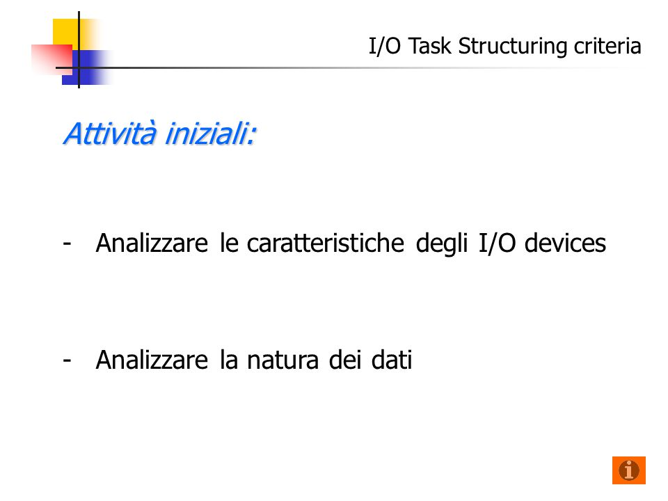 Attività iniziali: - -Analizzare le caratteristiche degli I/O devices - -Analizzare la natura dei dati