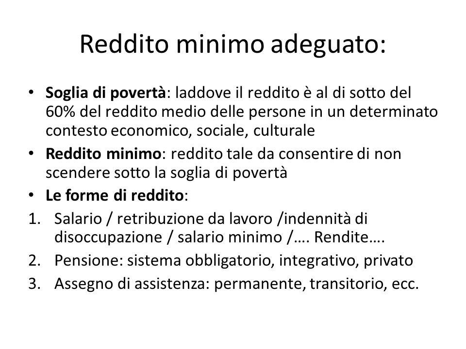 Reddito minimo adeguato: Soglia di povertà: laddove il reddito è al di sotto del 60% del reddito medio delle persone in un determinato contesto econom
