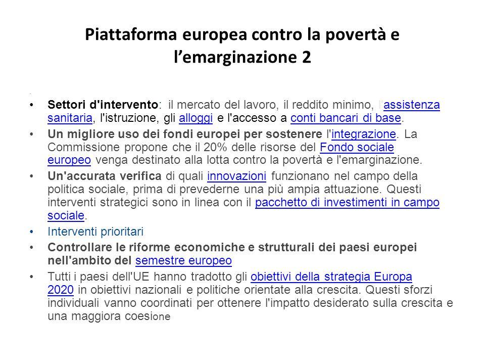 Piattaforma europea contro la povertà e l'emarginazione 2. Settori d'intervento: il mercato del lavoro, il reddito minimo, l'assistenza sanitaria, l'i