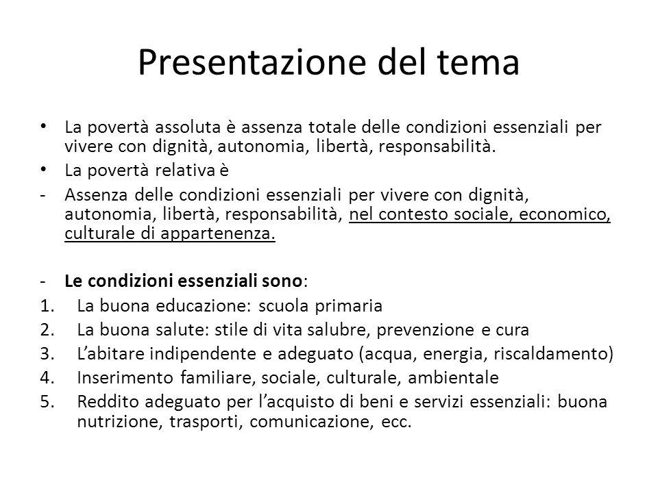 ISTAT : La povertà in Italia 1 Nel 2013, il 12,6% delle famiglie è in condizione di povertà relativa (per un totale di 3 milioni 230 mila) e il 7,9% lo è in termini assoluti (2 milioni 28 mila).
