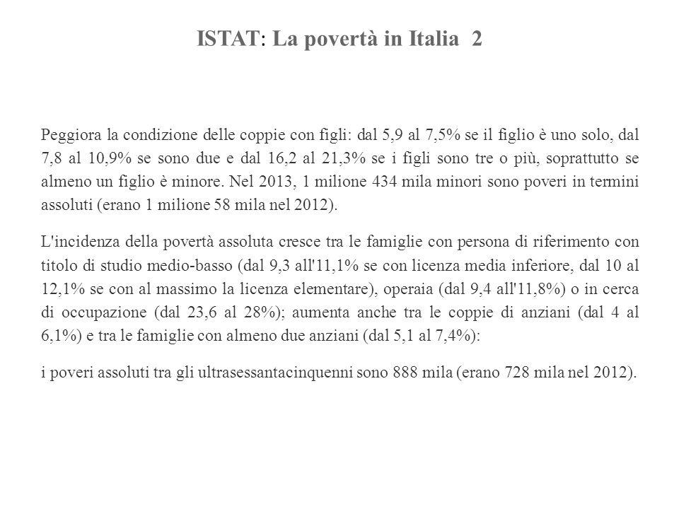 ISTAT : La povertà in Italia 2 Peggiora la condizione delle coppie con figli: dal 5,9 al 7,5% se il figlio è uno solo, dal 7,8 al 10,9% se sono due e dal 16,2 al 21,3% se i figli sono tre o più, soprattutto se almeno un figlio è minore.