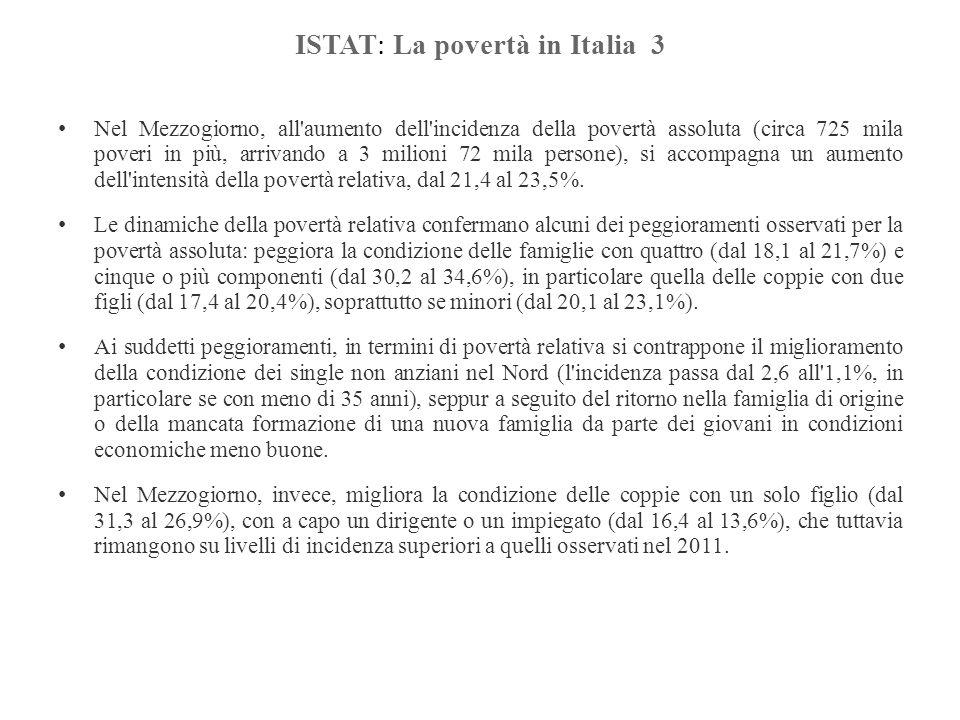 ISTAT : La povertà in Italia 3 Nel Mezzogiorno, all'aumento dell'incidenza della povertà assoluta (circa 725 mila poveri in più, arrivando a 3 milioni