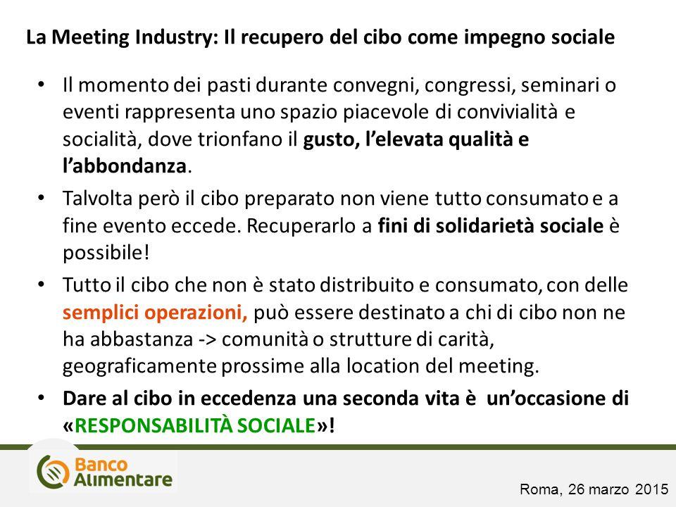 La Meeting Industry: Il recupero del cibo come impegno sociale Il momento dei pasti durante convegni, congressi, seminari o eventi rappresenta uno spa