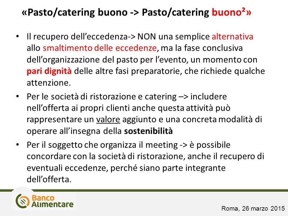 «Pasto/catering buono -> Pasto/catering buono²» Il recupero dell'eccedenza-> NON una semplice alternativa allo smaltimento delle eccedenze, ma la fase