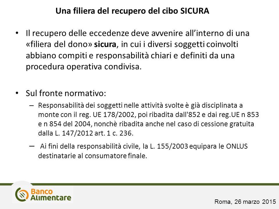 Una filiera del recupero del cibo SICURA Il recupero delle eccedenze deve avvenire all'interno di una «filiera del dono» sicura, in cui i diversi sogg