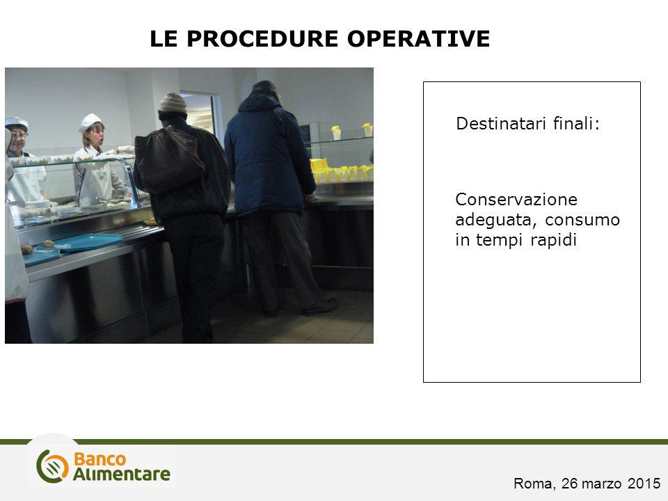 Destinatari finali: Conservazione adeguata, consumo in tempi rapidi LE PROCEDURE OPERATIVE Roma, 26 marzo 2015
