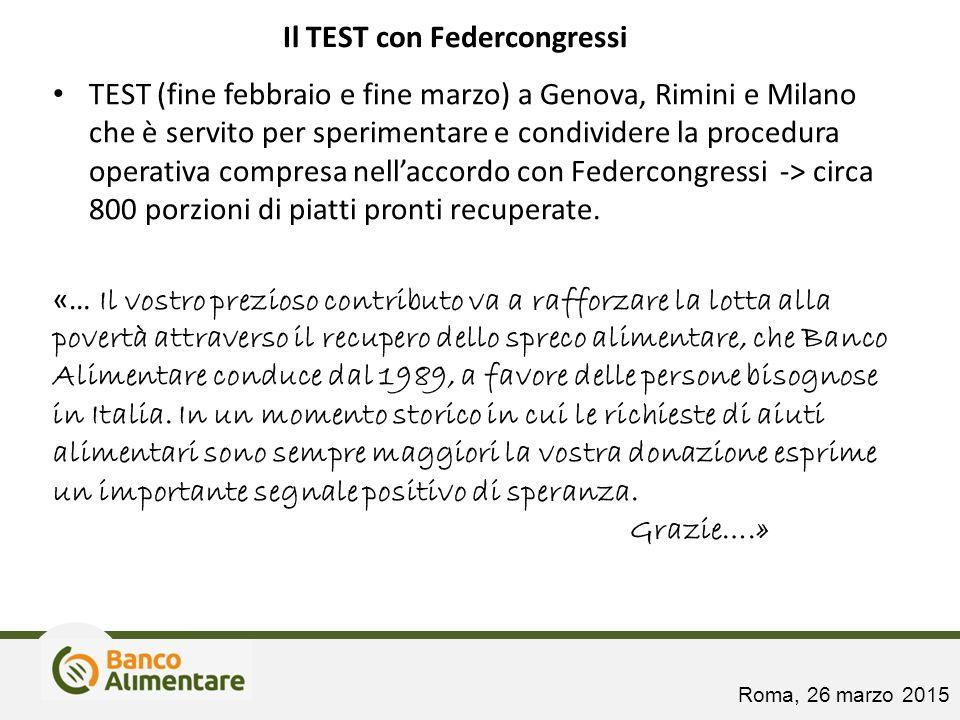 Il TEST con Federcongressi TEST (fine febbraio e fine marzo) a Genova, Rimini e Milano che è servito per sperimentare e condividere la procedura opera