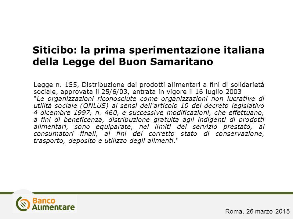 Siticibo: la prima sperimentazione italiana della Legge del Buon Samaritano Legge n. 155, Distribuzione dei prodotti alimentari a fini di solidarietà