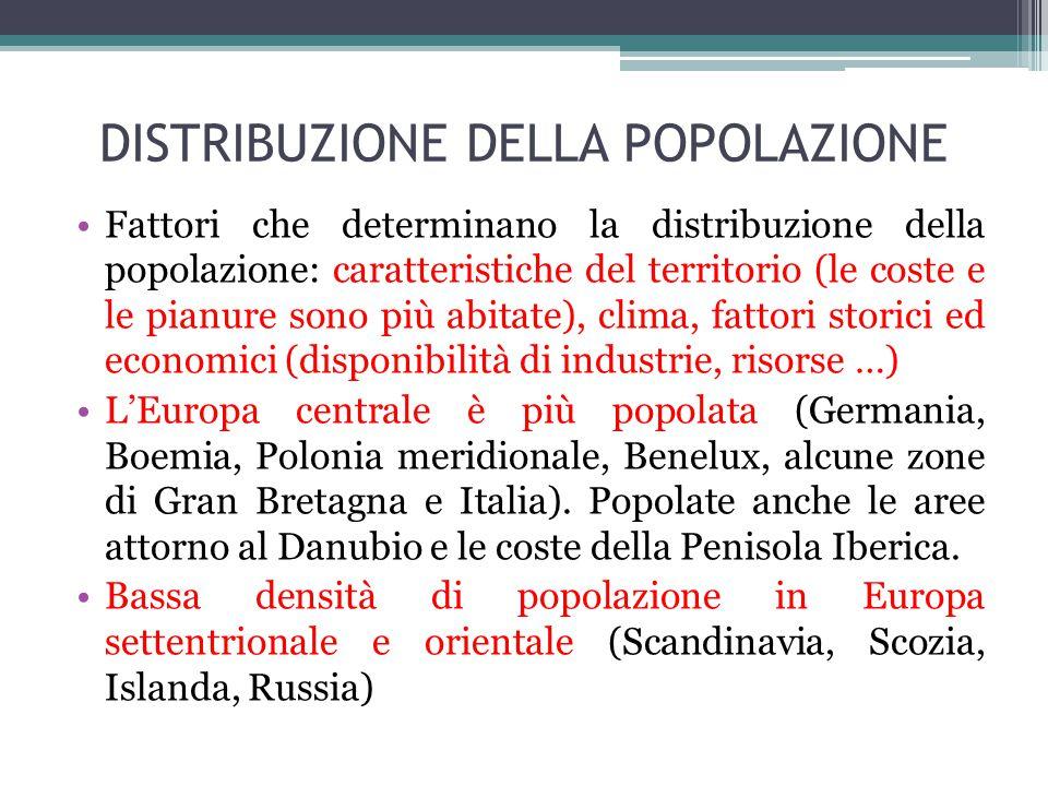 DISTRIBUZIONE DELLA POPOLAZIONE Fattori che determinano la distribuzione della popolazione: caratteristiche del territorio (le coste e le pianure sono