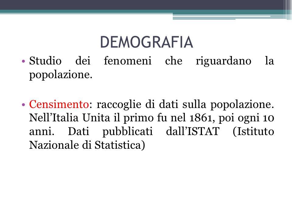 DEMOGRAFIA Studio dei fenomeni che riguardano la popolazione. Censimento: raccoglie di dati sulla popolazione. Nell'Italia Unita il primo fu nel 1861,