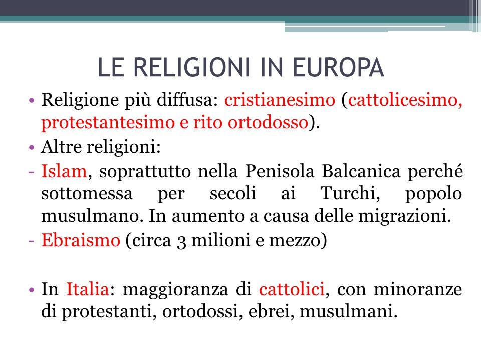 LE RELIGIONI IN EUROPA Religione più diffusa: cristianesimo (cattolicesimo, protestantesimo e rito ortodosso). Altre religioni: -Islam, soprattutto ne