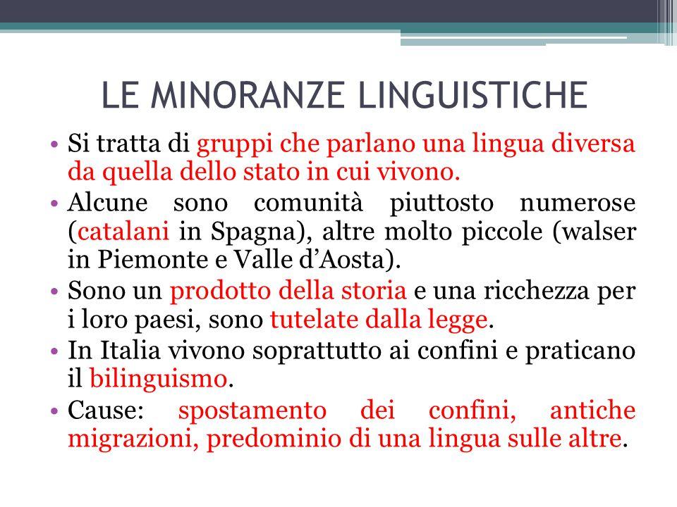 LE MINORANZE LINGUISTICHE Si tratta di gruppi che parlano una lingua diversa da quella dello stato in cui vivono. Alcune sono comunità piuttosto numer