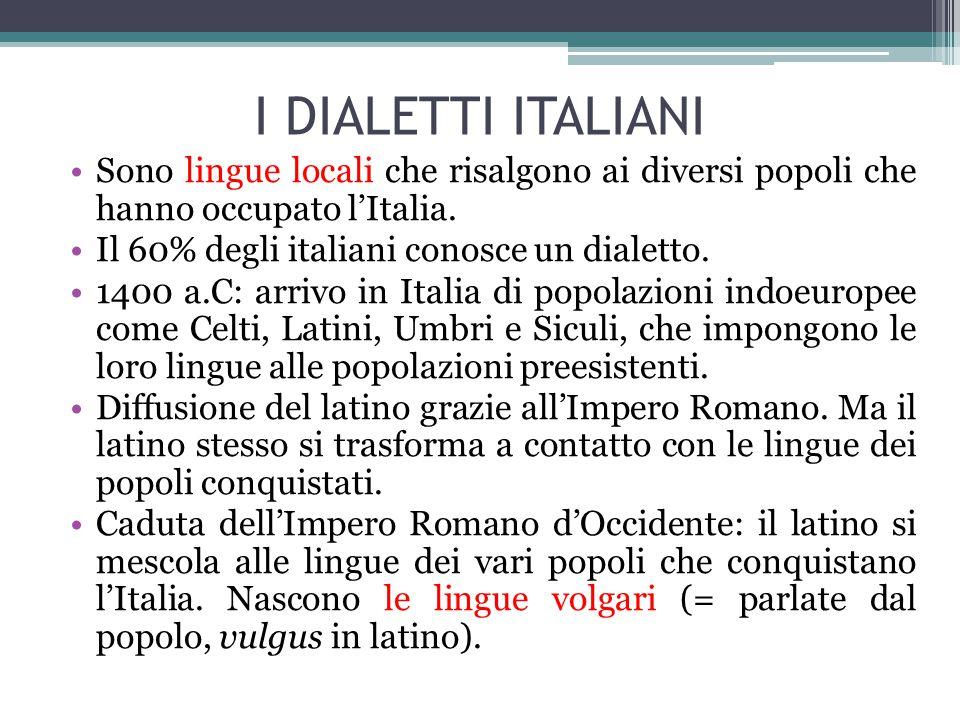 I DIALETTI ITALIANI Sono lingue locali che risalgono ai diversi popoli che hanno occupato l'Italia.