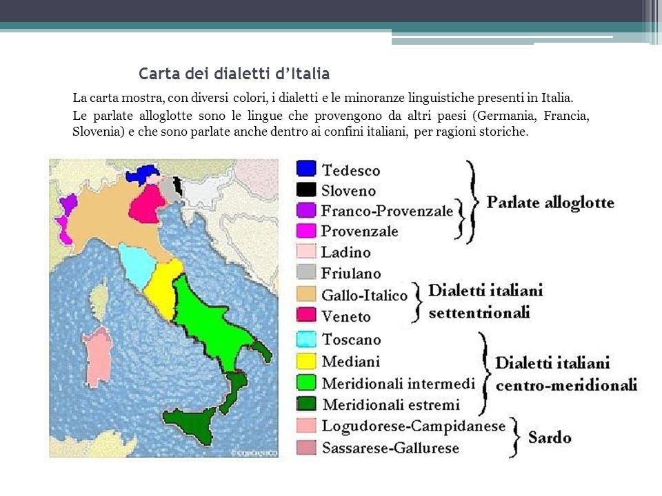 Carta dei dialetti d'Italia La carta mostra, con diversi colori, i dialetti e le minoranze linguistiche presenti in Italia. Le parlate alloglotte sono