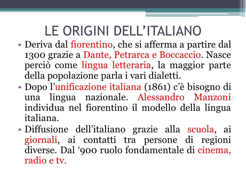 LE ORIGINI DELL'ITALIANO Deriva dal fiorentino, che si afferma a partire dal 1300 grazie a Dante, Petrarca e Boccaccio.
