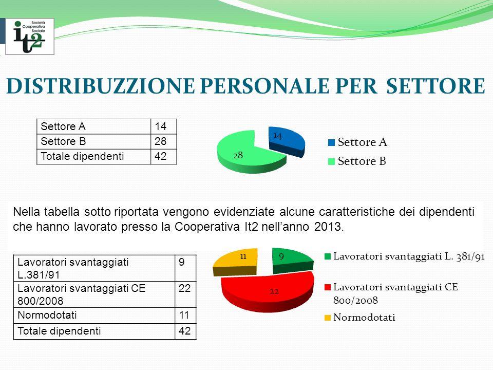 DISTRIBUZZIONE PERSONALE PER SETTORE Settore A14 Settore B28 Totale dipendenti42 Nella tabella sotto riportata vengono evidenziate alcune caratteristiche dei dipendenti che hanno lavorato presso la Cooperativa It2 nell'anno 2013.